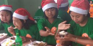 children are enjoying donated pilaf and ice – cream